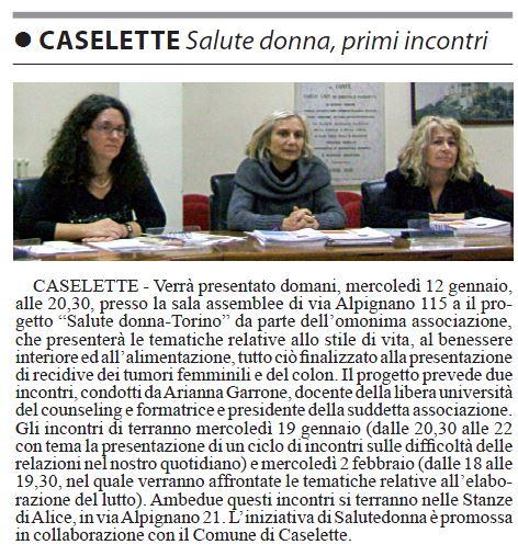 Caselette, Salute Donna, primi incontri