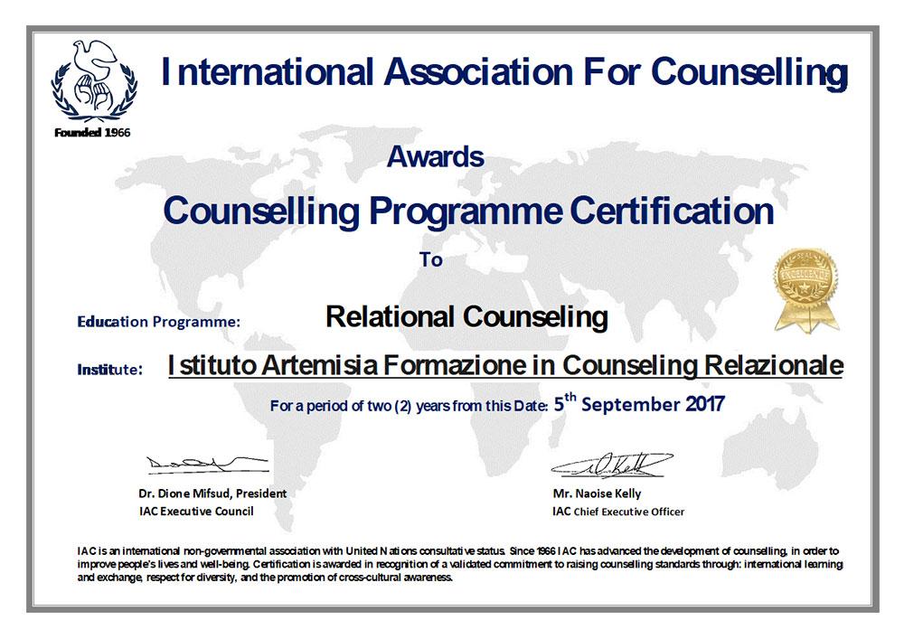 Abilità di Counseling: programma di certificazione Istituto Artemisia